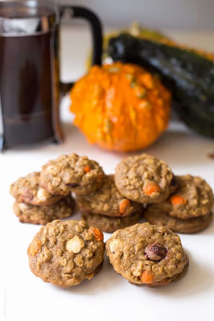 pumpkin oatmeal muffin top cookies, with M&M's® Pumpkin Spice ...