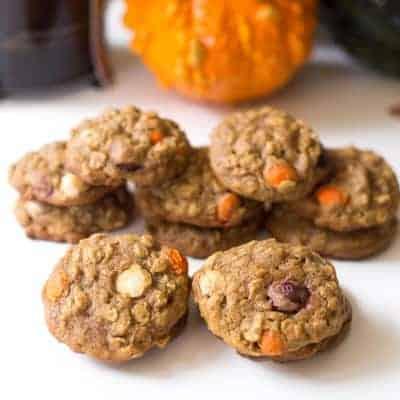 Pumpkin Oatmeal Muffin Top Cookies | tasteslovely.com