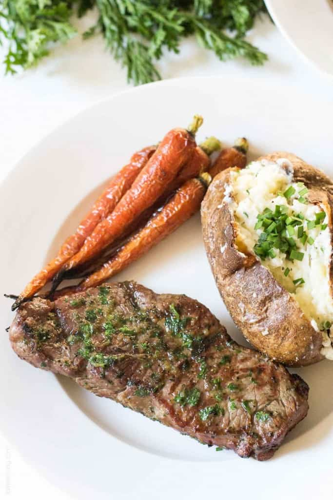 NY Steak with Cilantro Onion Dredge (Low Carb, Gluten Free, Paleo, Whole30)