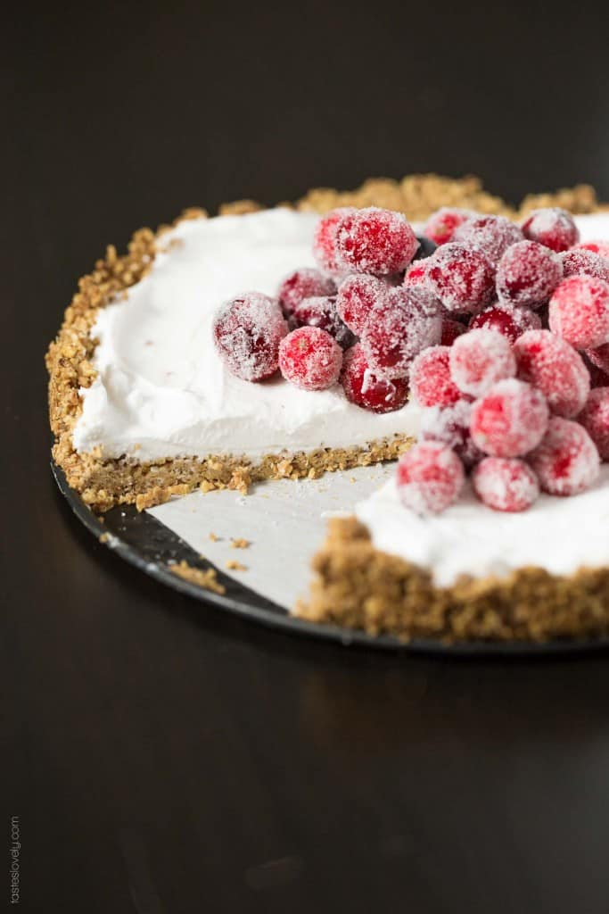 Coconut Cream Tart with Sugared Cranberries - Dairy Free, Vegan, Gluten Free