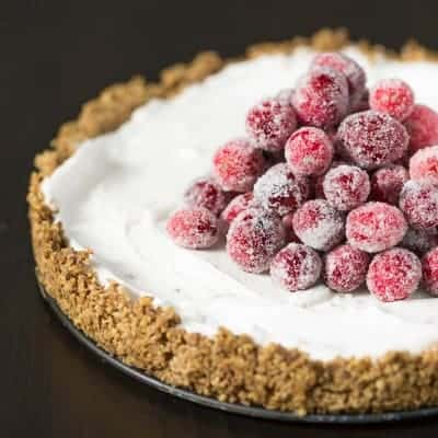 Coconut Cream Tart with Sugared Cranberries - Dairy Free, Vegan, Gluten Free | tasteslovely.com