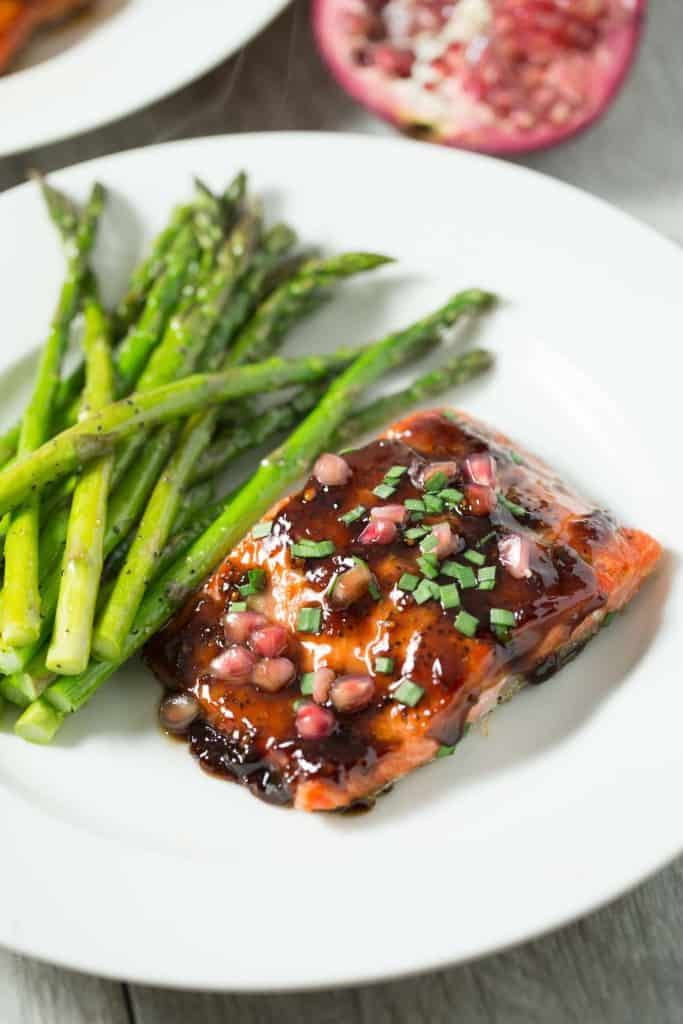 Pomegranate soy glazed salmon – salmon baked with a sticky, sweet ...