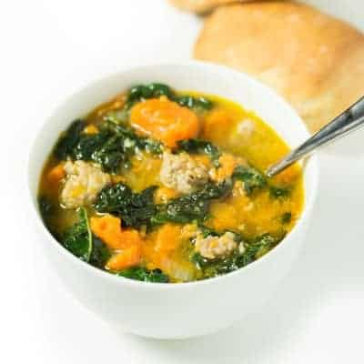 Sausage and Sweet Potato Soup with Kale (paleo, gluten free, dairy free) | tasteslovely.com