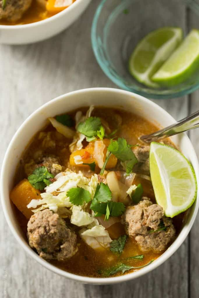 Winter Albondigas with Shredded Cabbage - a paloe, gluten free, dairy free and Whole30 soup dinner!