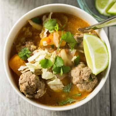 Winter Albondigas with Shredded Cabbage - a paloe, gluten free, diary free and Whole30 soup dinner! | tasteslovely.com