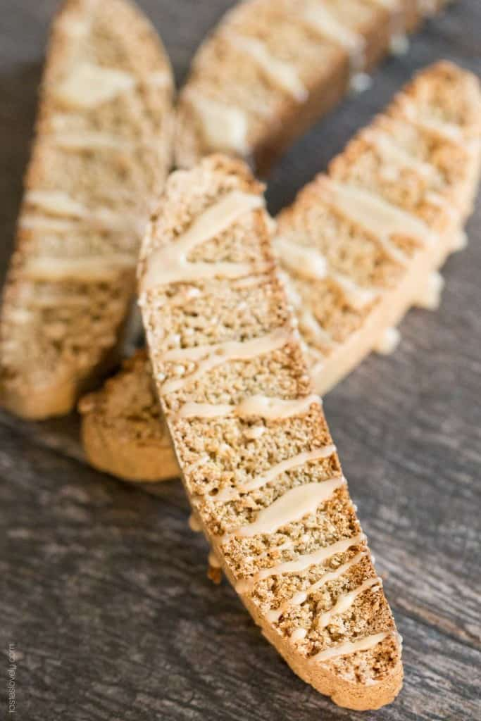 Chai Spice Biscotti with Chai Tea Glaze - a delicious tea time treat that is dairy free!