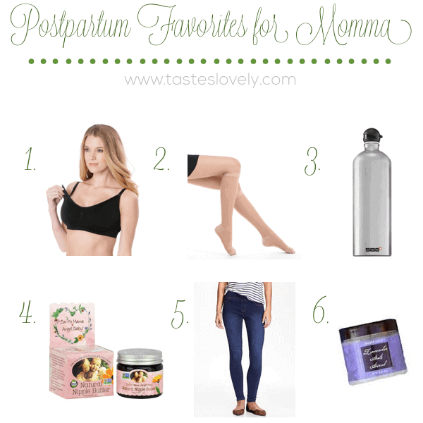 12 Postpartum Favorites for Momma after baby is born | tasteslovely.com copy