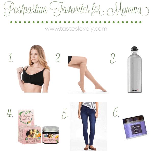 12 Postpartum Favorites for Momma after baby is born | tasteslovely.com copy