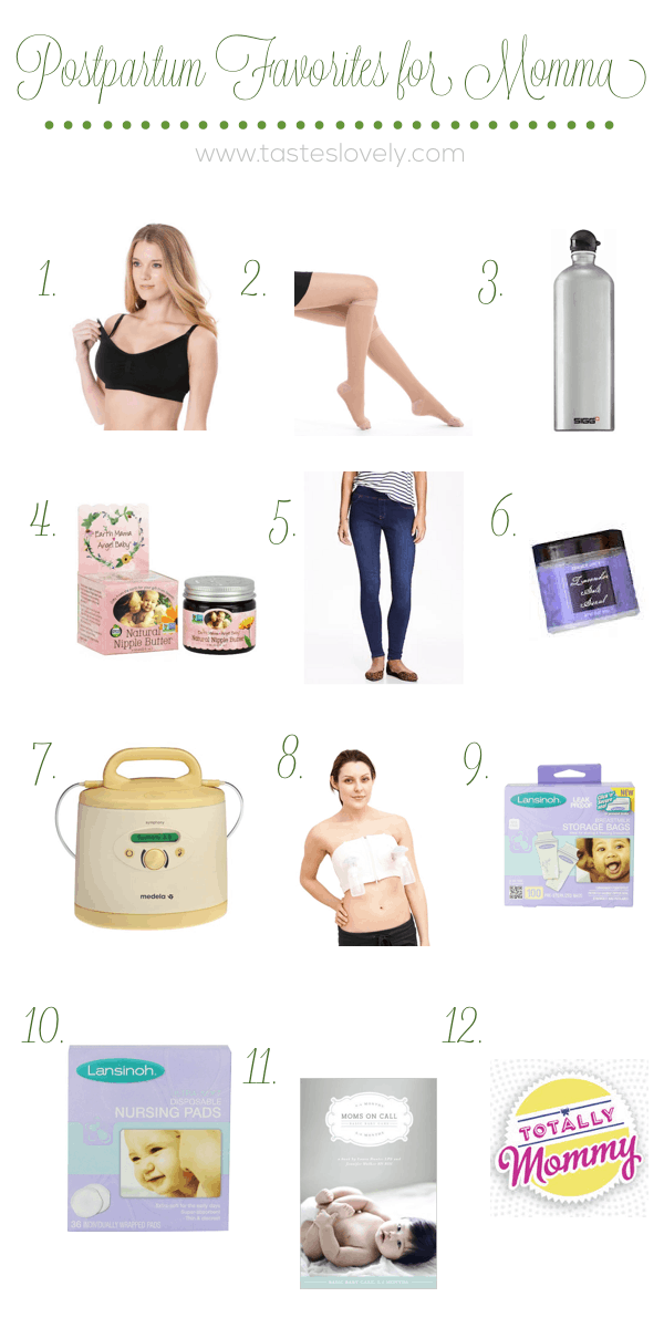 12 Postpartum Favorites for Momma after baby is born | tasteslovely.com