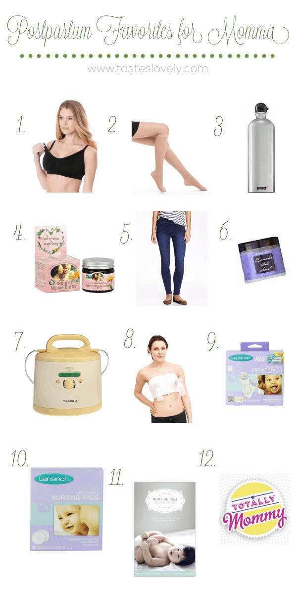12 Postpartum Favorites for Momma after baby is born | tasteslovely.com