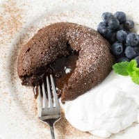 Coconut Oil Chocolate Lava Cakes for 2