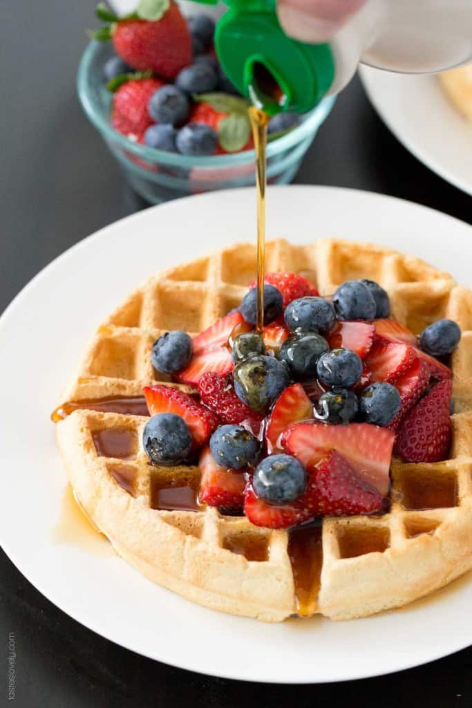 Healthier Dairy Free Belgian Waffles - made with almond milk and coconut oil