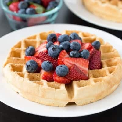 Healthier Dairy Free Belgian Waffles | tasteslovely.com