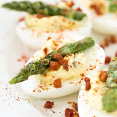 Pancetta and Asparagus Deviled Eggs | tasteslovely.com