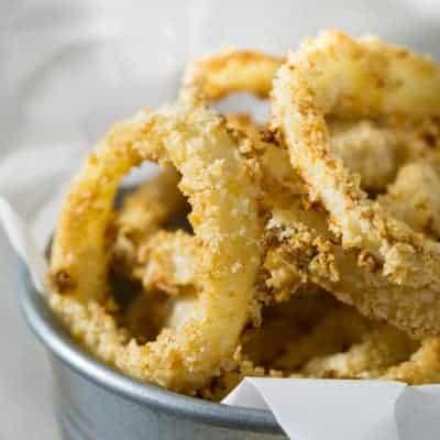 Crispy Oven Baked Onion Rings | tasteslovely.com
