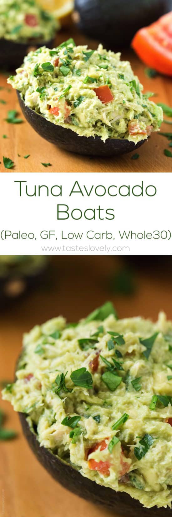 Paleo Tuna Avocado Boats - no mayo, just tuna and avocado! (gluten free, low carb, Whole30)