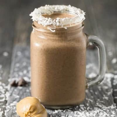 Peanut Butter Cocoa Coconut Smoothie | tasteslovely.com