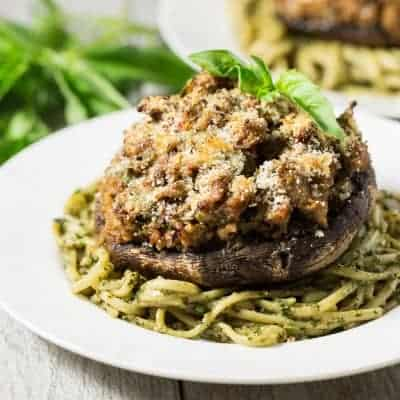 Sausage Stuffed Portobello Mushrooms (leave off the panko topping to make these low carb, paleo, gluten free and Whole30!) | tasteslovely.com