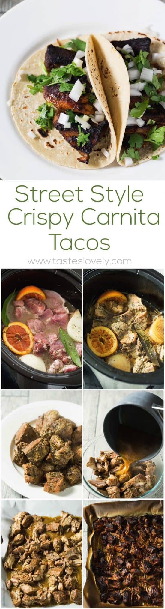 Street Style Crispy Carnitas Tacos - started in the slow cooker, then broiled in the oven to get them crispy