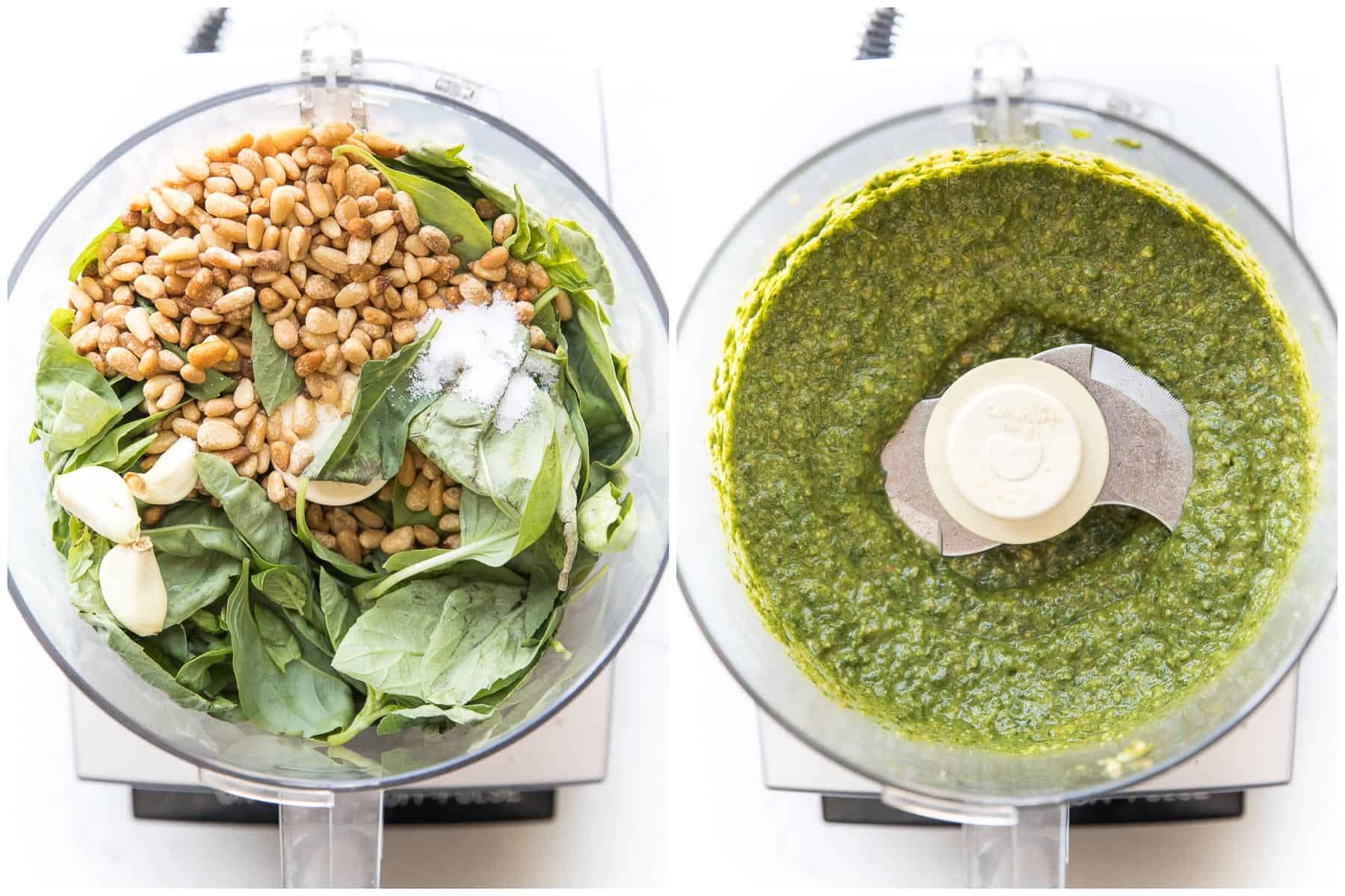 steps to making pesto sauce in a food processor