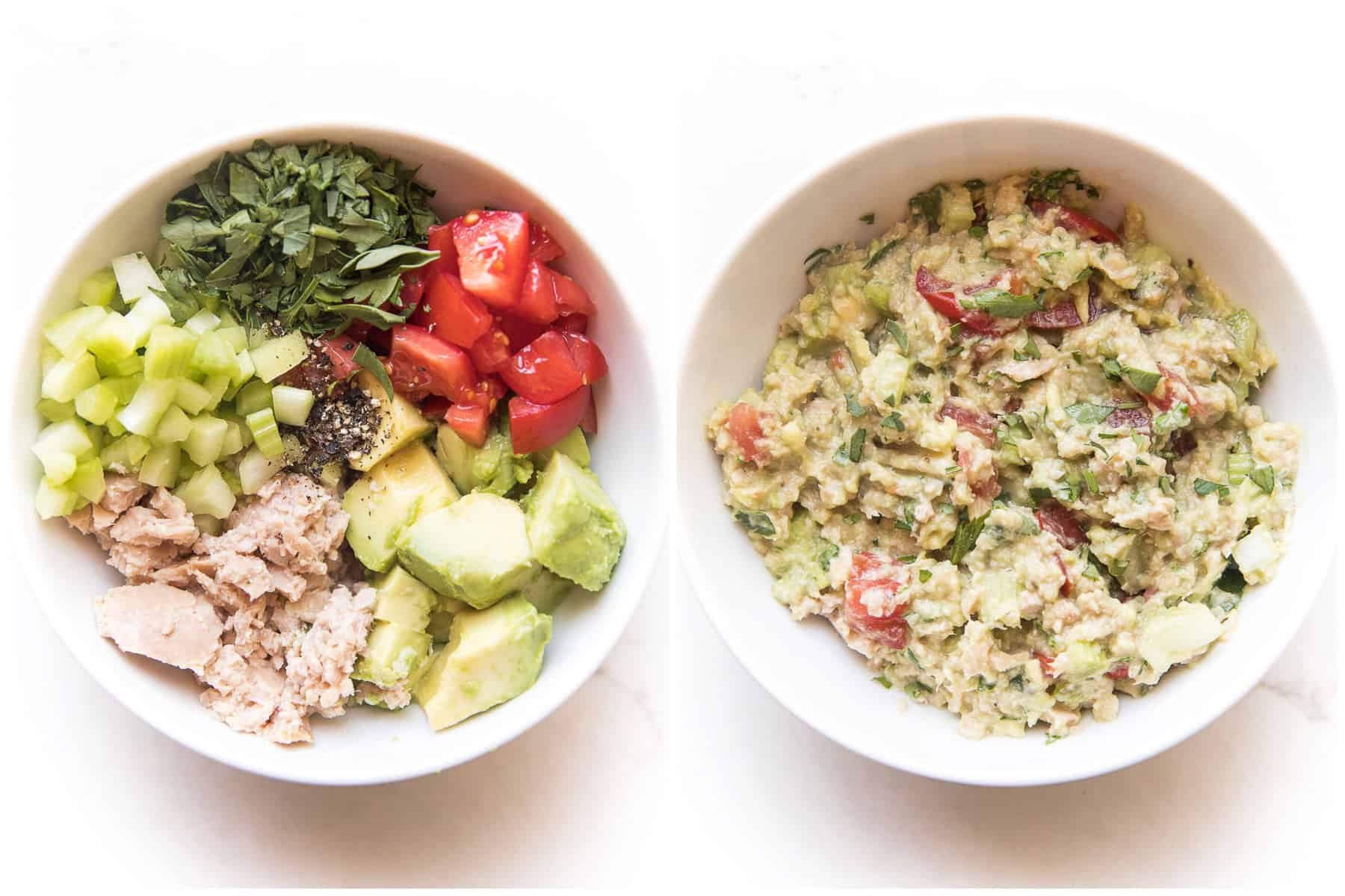 ingredients needed for avocado tuna salad in a white bowl on a white background