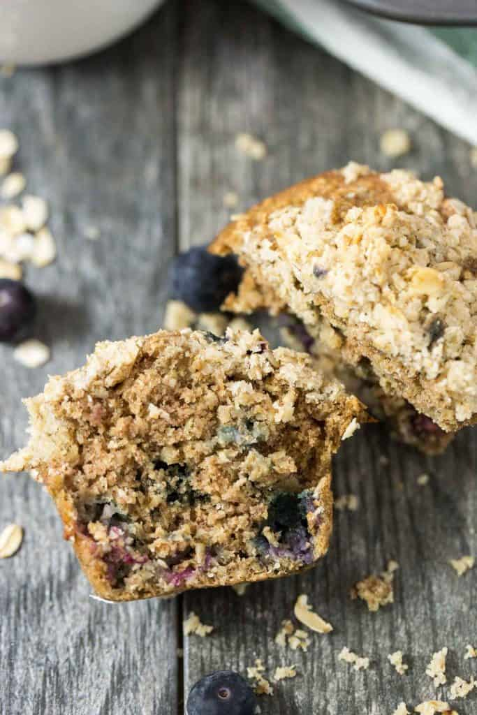 The BEST Healthy Blueberry Oatmeal Muffins with Streusel Topping - made with coconut oil so they're dairy free!