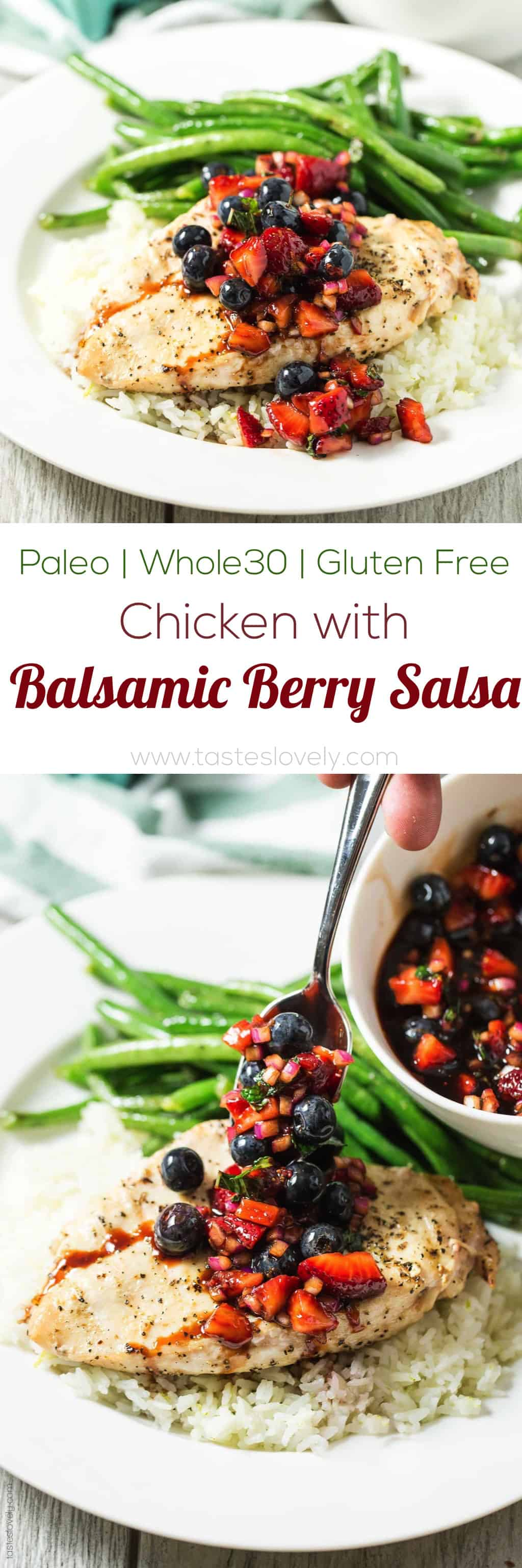 Grilled Chicken with Balsamic Berry Salsa (paleo, gluten free, dairy free, Whole30)