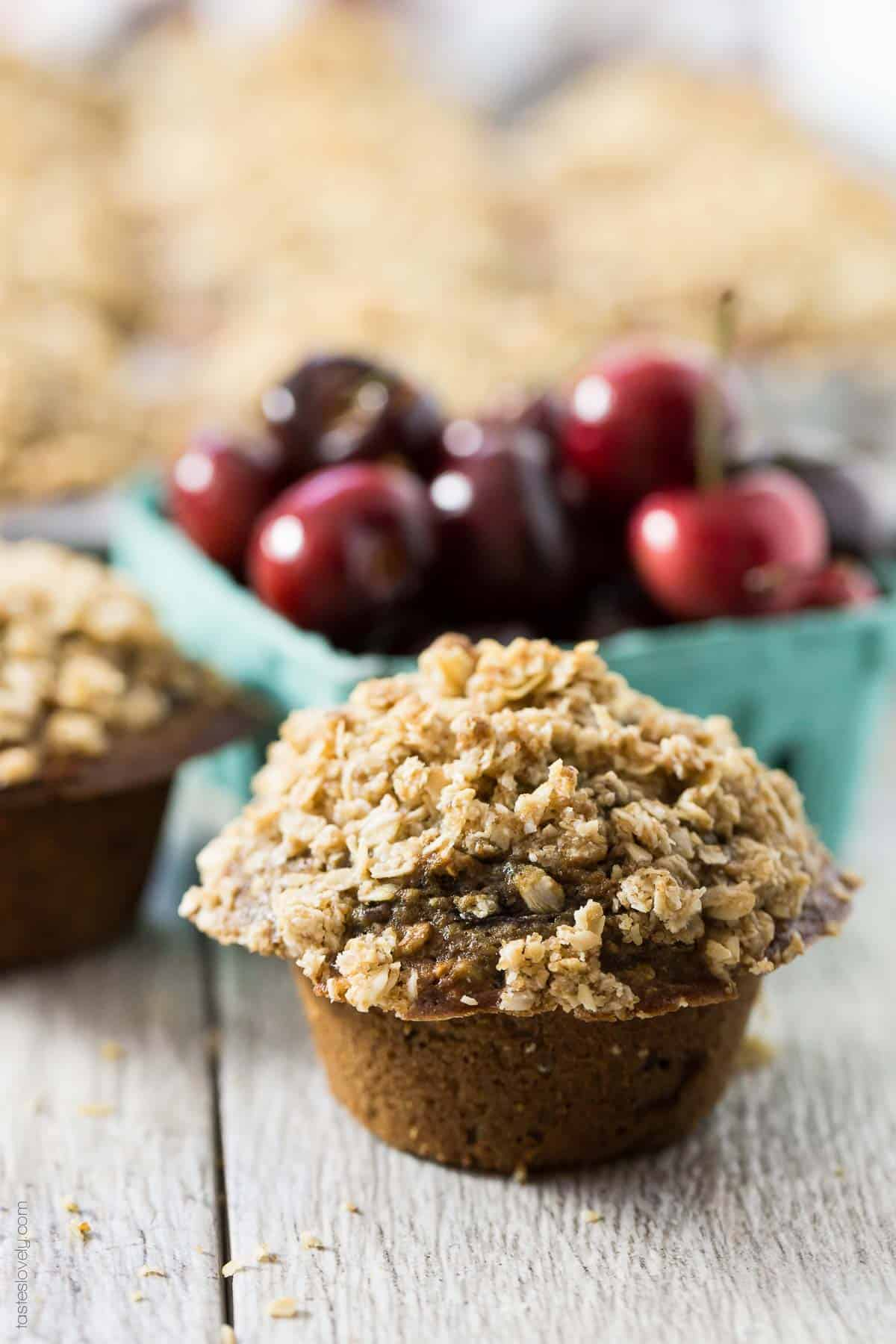 Healthy Cherry Oatmeal Muffins