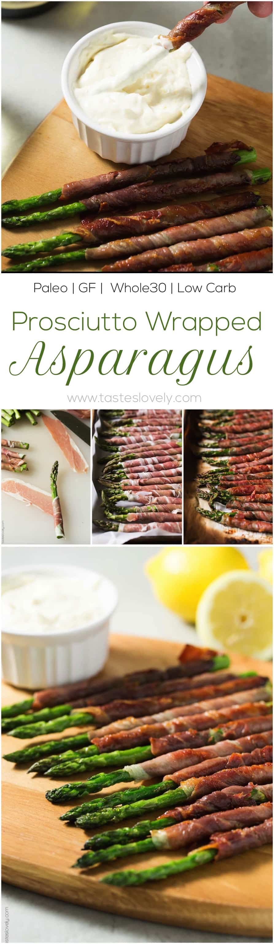 Paleo Prosciutto Wrapped Asparagus Appetizer With Lemon Garlic Aioli  (paleo, Gluten Free, Whole30