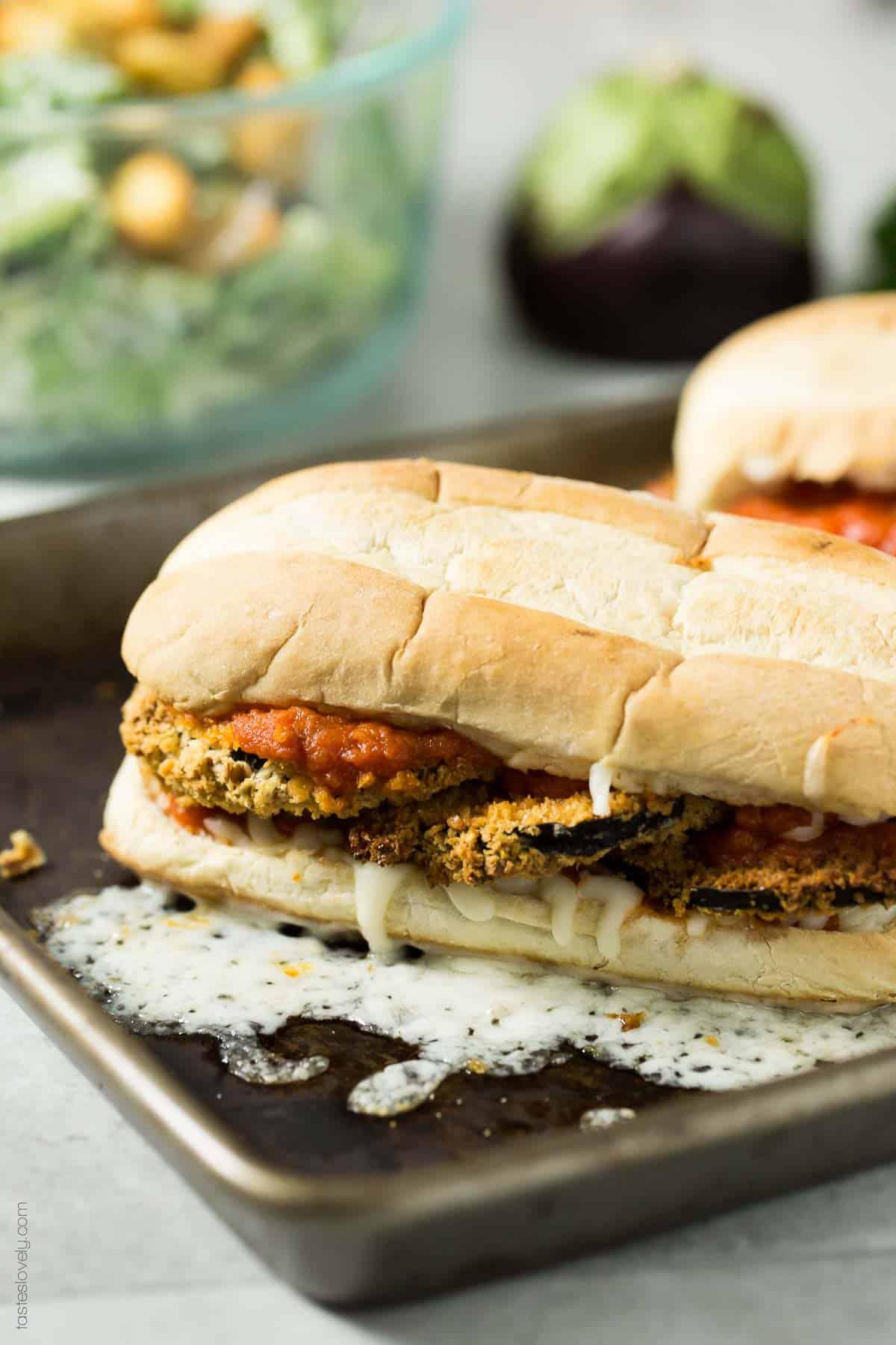 Vegan Crunchy Baked Eggplant Sandwich Melts-1