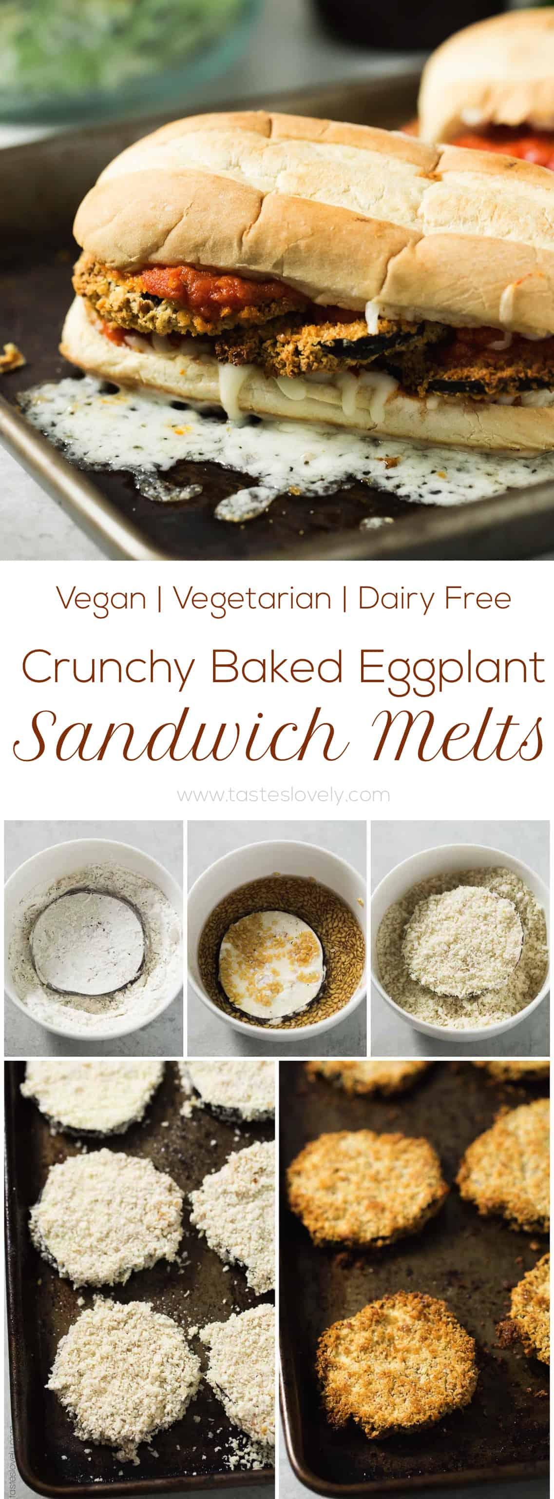 Vegan Crunchy Baked Eggplant Sandwich Melts