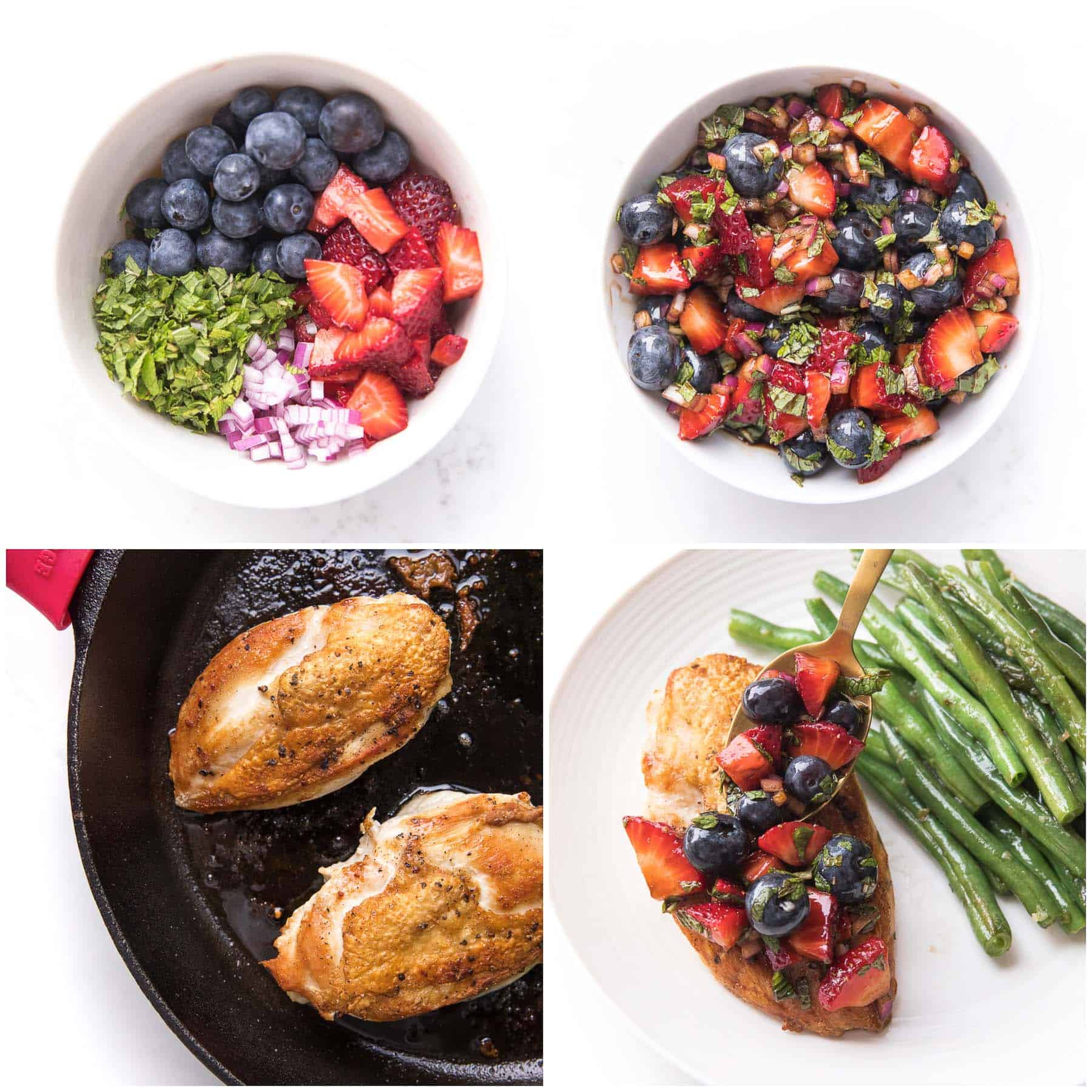 steps to making chicken with berry salsa