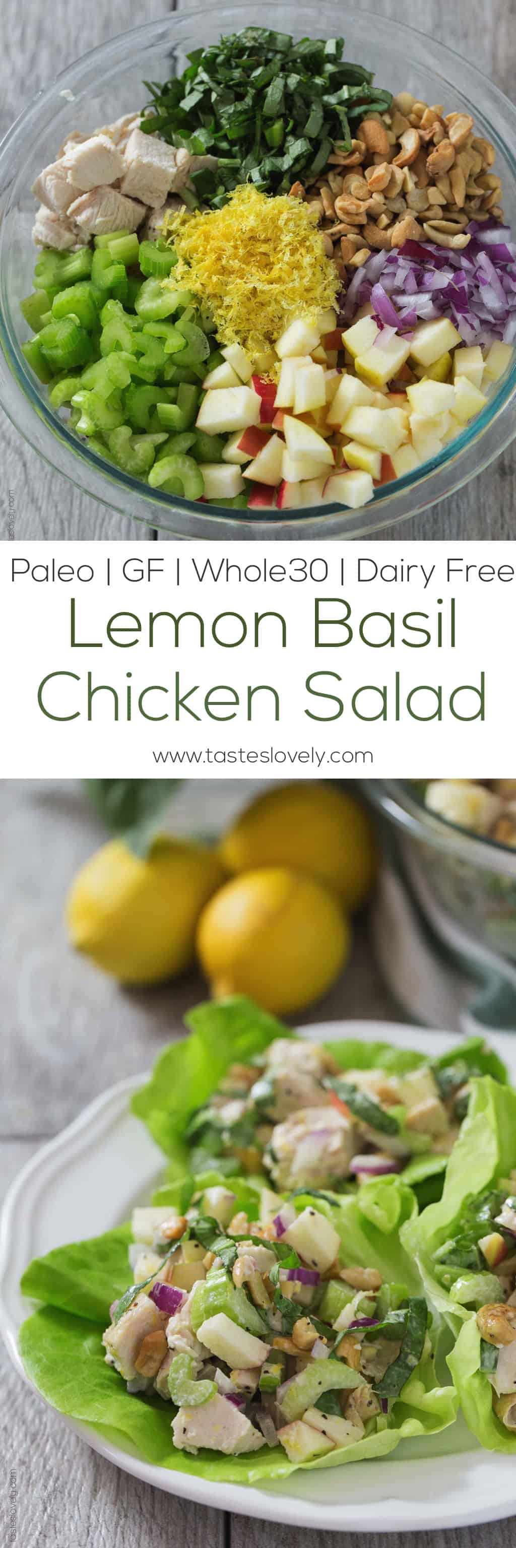 Paleo Lemon Basil Chicken Salad Lettuce Wraps - a light and healthy ...