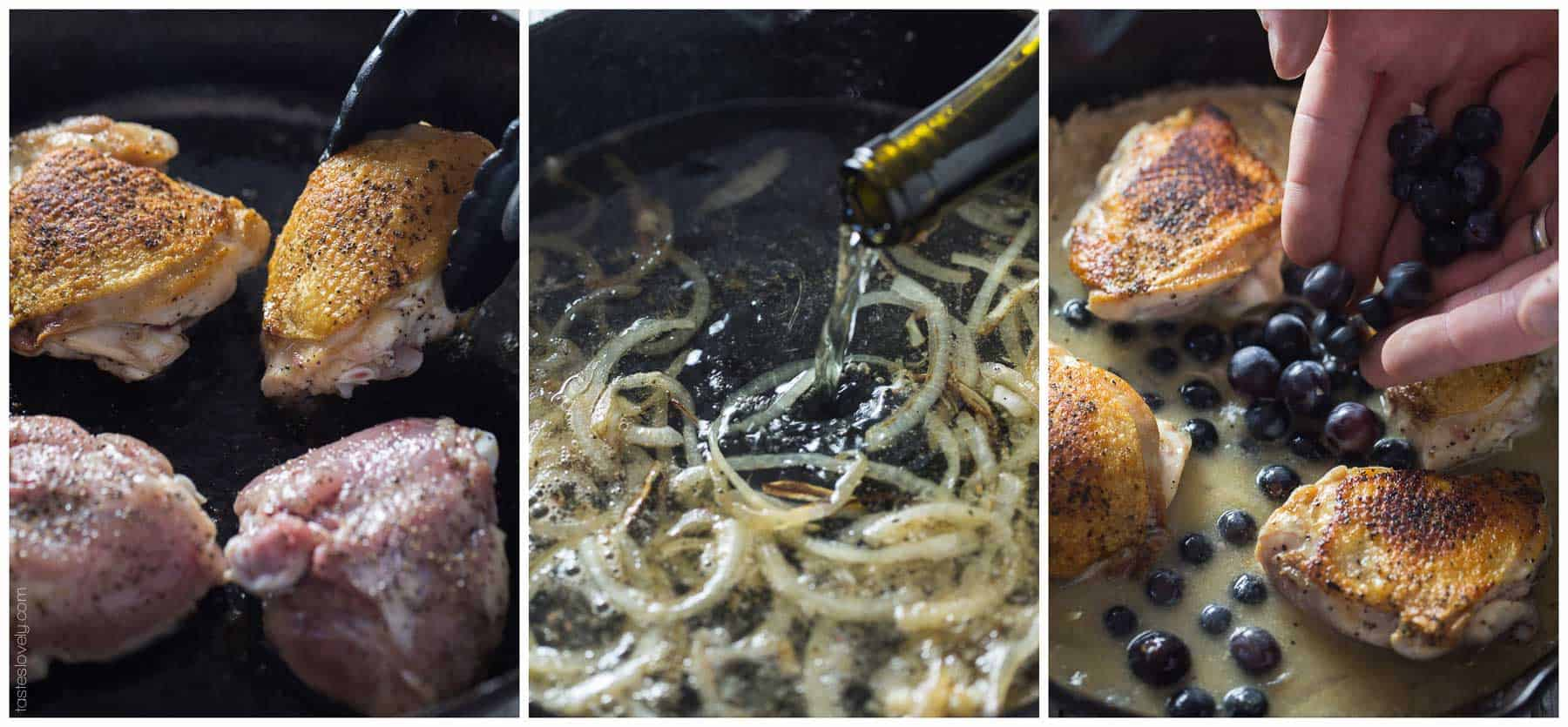 Chicken Thighs Braised in Mustard Grape Sauce - healthy fall or winter dinner (paleo, whole30, gluten free, dairy free)
