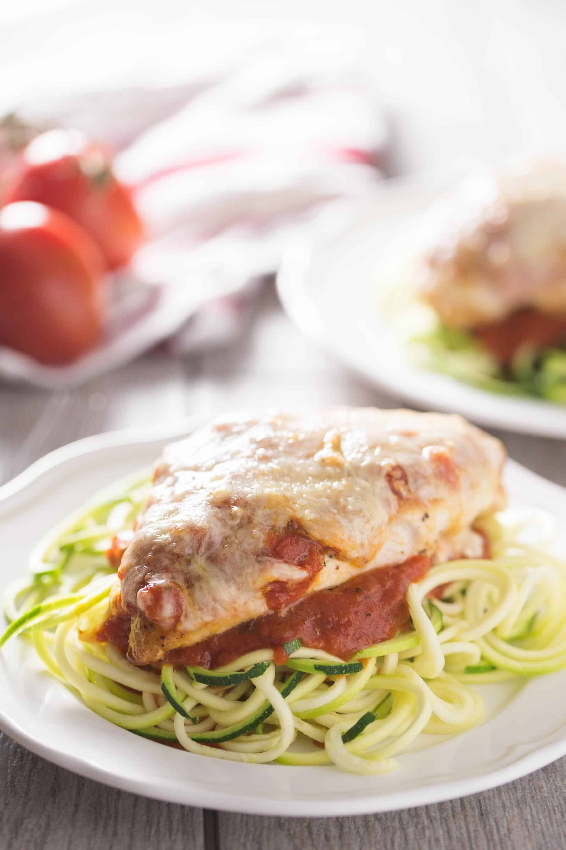 Healthy Chicken Parmesan - no breading! (gluten free, low carb)
