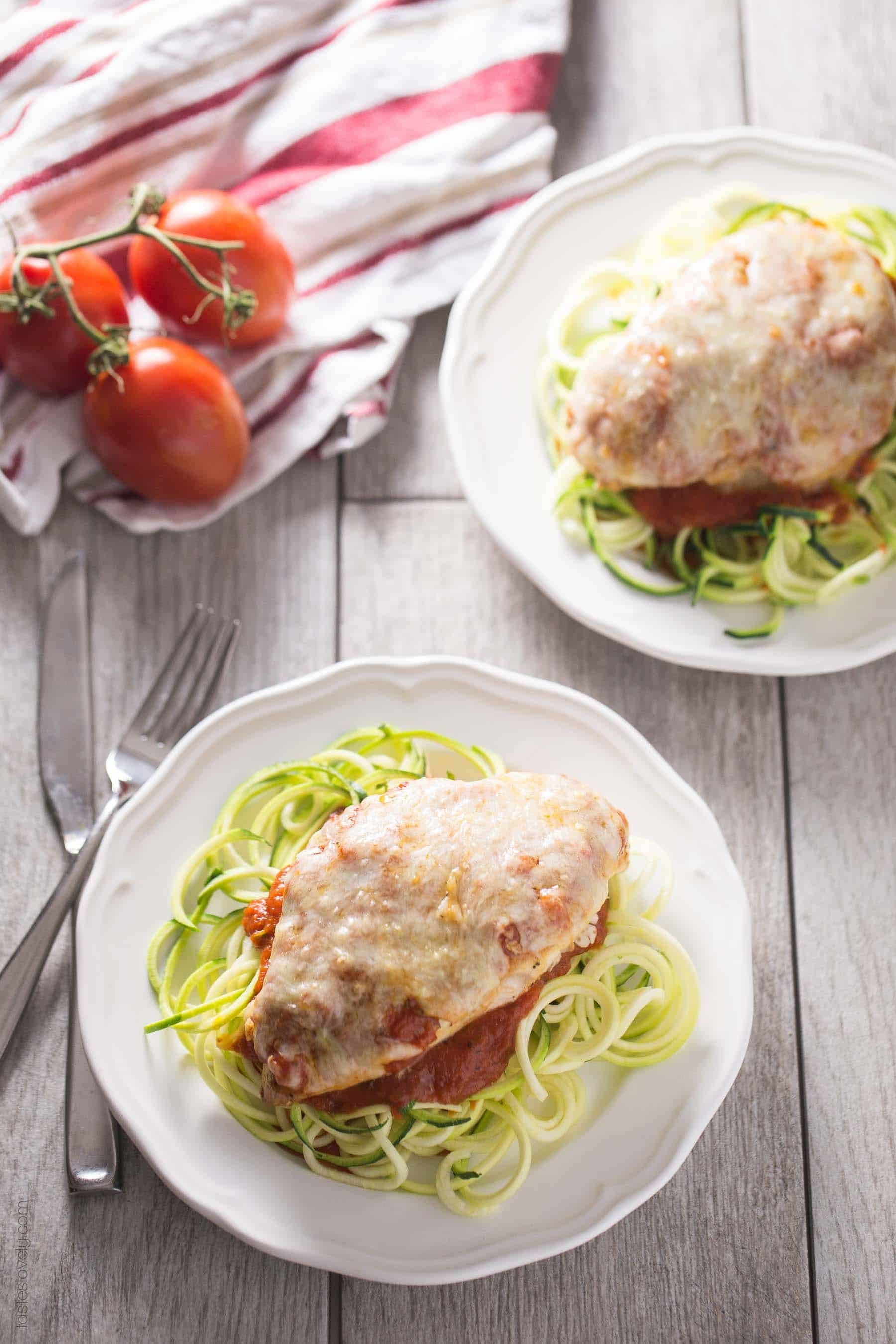 Healthy Chicken Parmesan - no breading! (gluten free, low carb)