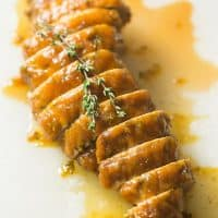 Pumpkin Butter & Thyme Pork Tenderloin | tasteslovely.com