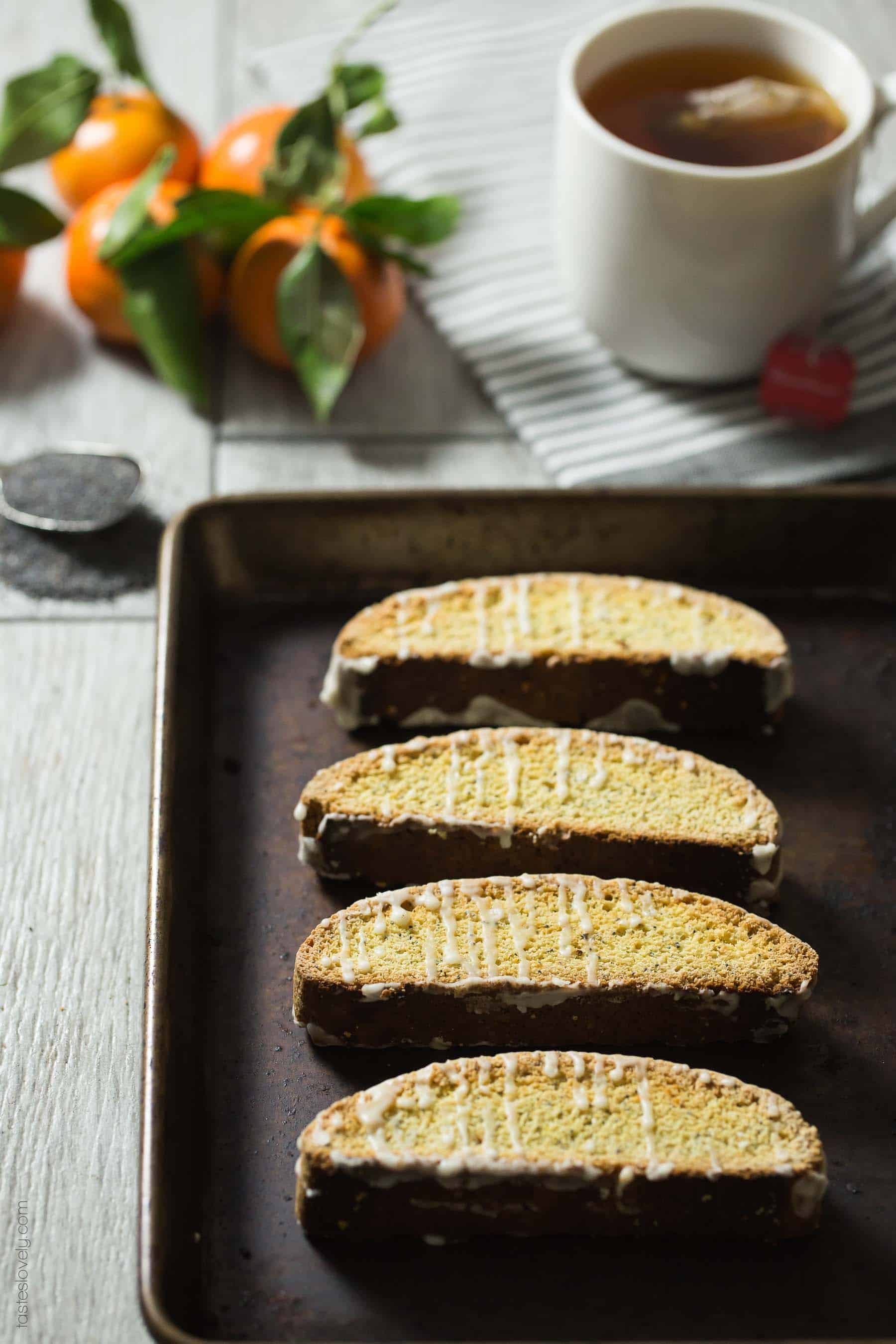 Orange Poppy Seed Biscotti - made with no butter so they're dairy free!