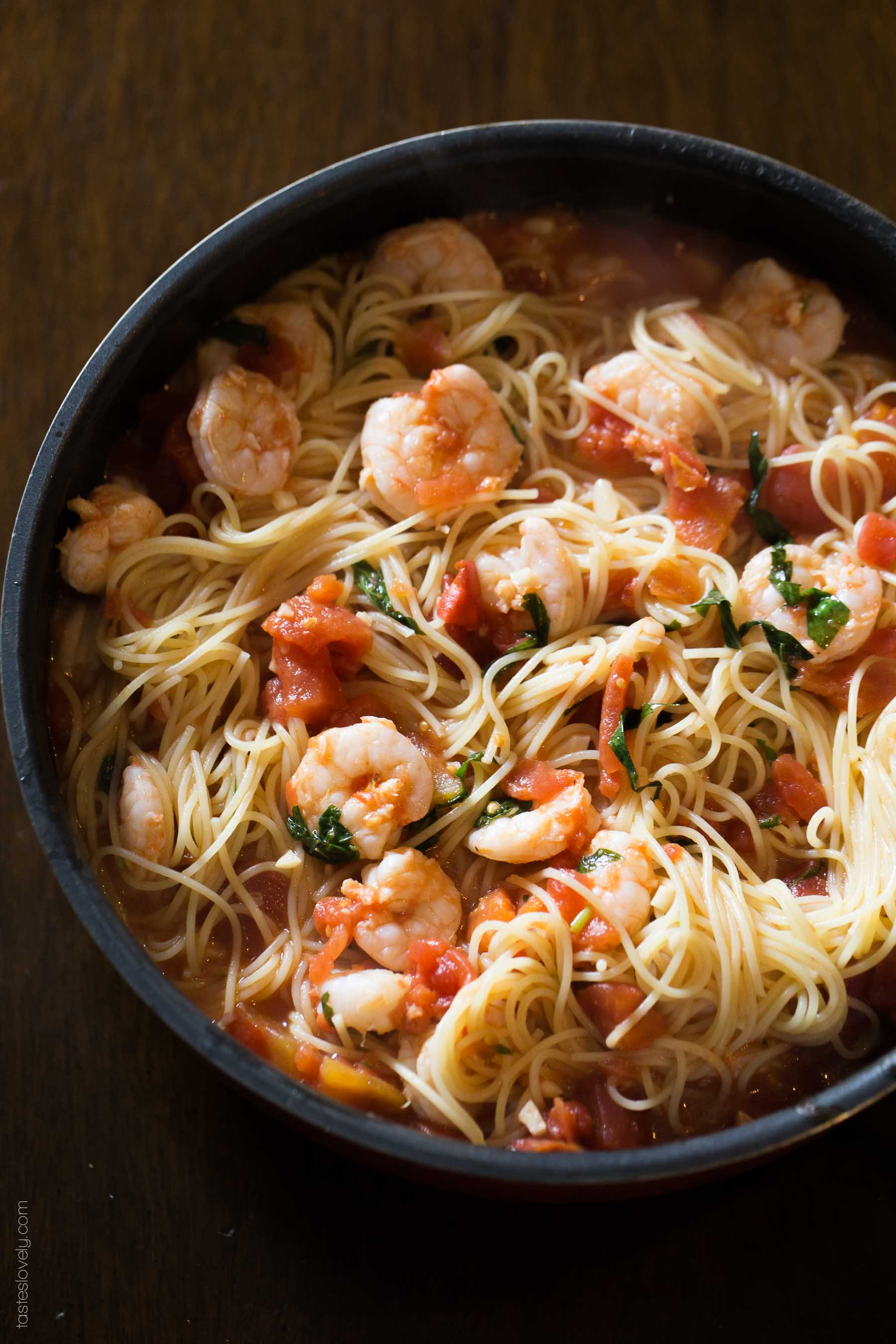Shrimp and Basil Angel Hair Pasta - a quick and delicious 30 minute dinner recipe