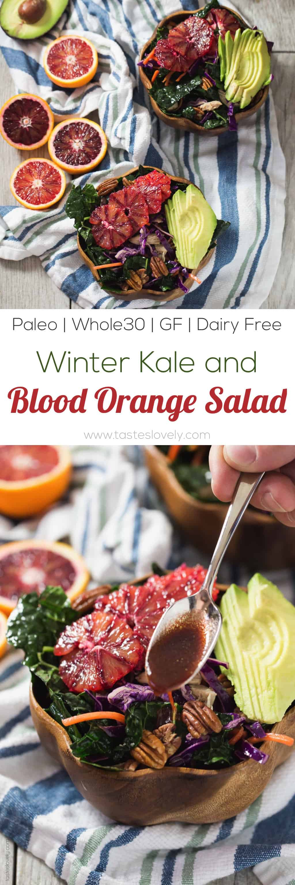 Winter Kale and Blood Orange Salad with a blood orange balsamic vinaigrette - a quick and healthy salad for lunch or dinner! (paleo, whole30, gluten free, dairy free, refined sugar free)