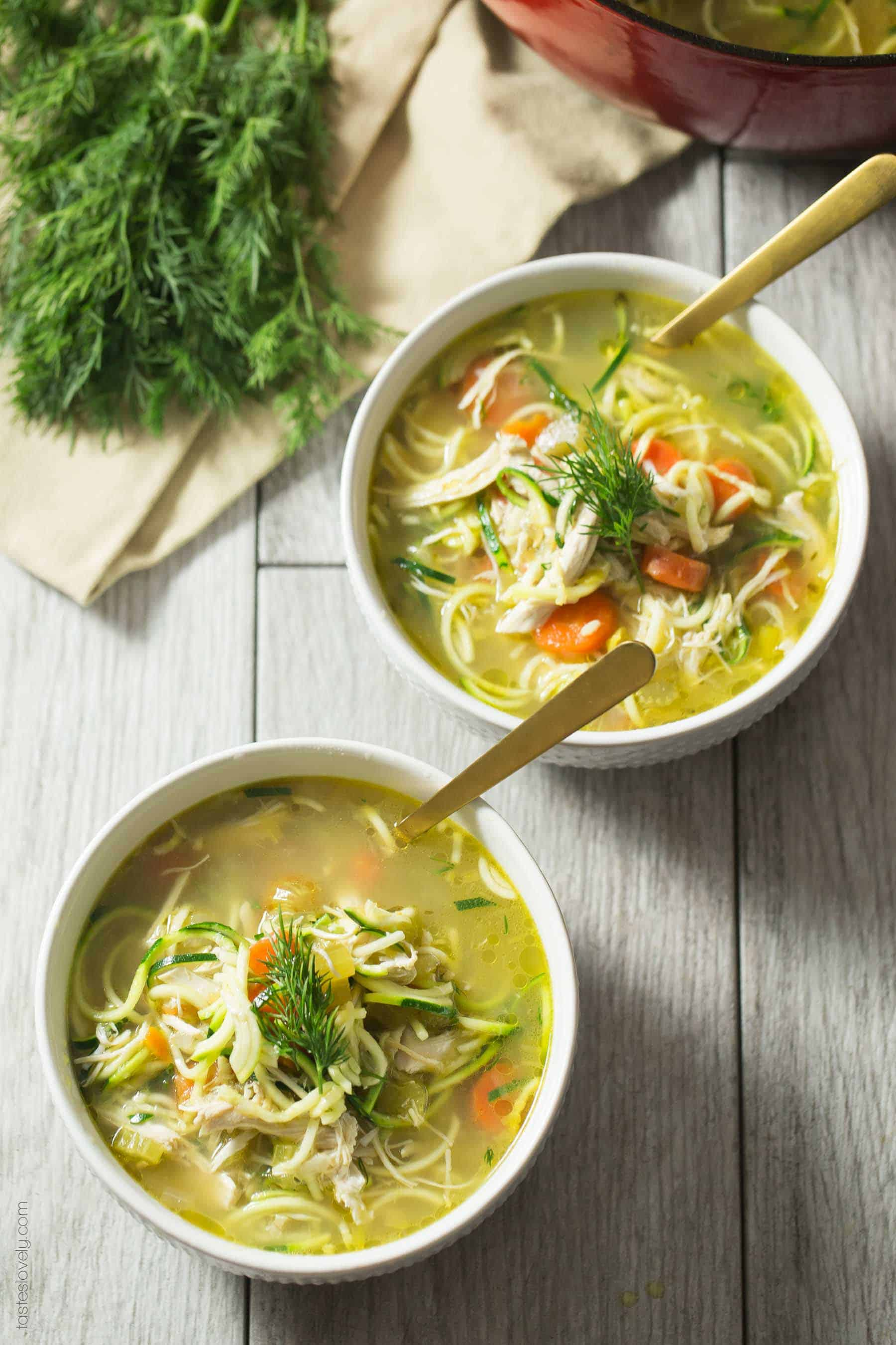 Whole30 Keto Chicken Zoodle Soup With Dill Tastes Lovely