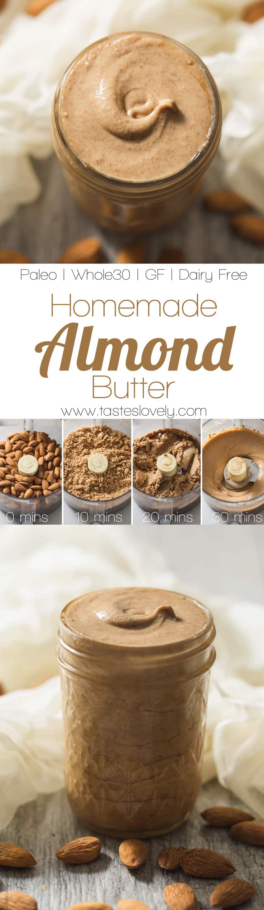 Homemade Almond Butter made in your food processor! (paleo, whole30, gluten free, dairy free, grain free, low carb)