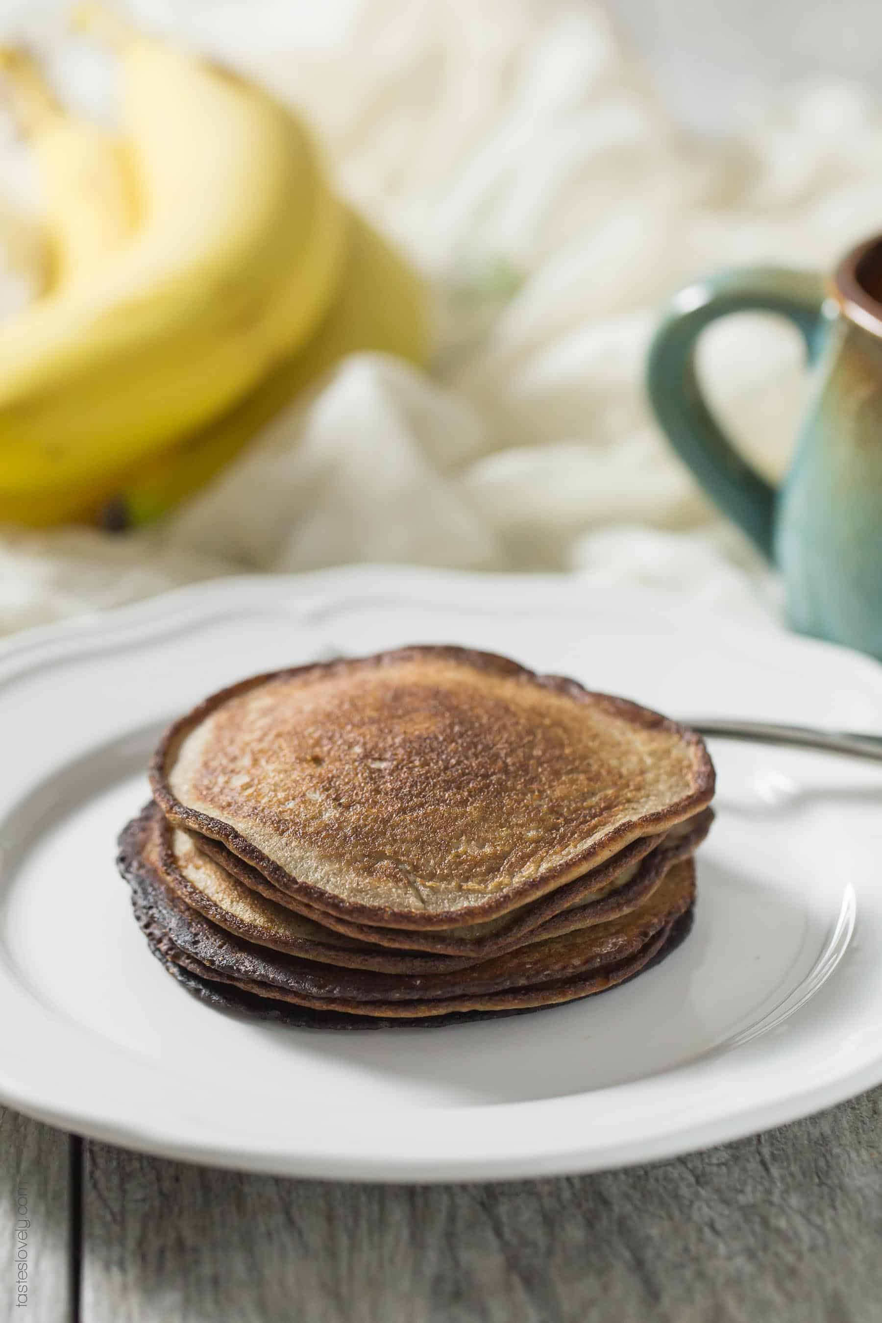 Paleo + Whole30 Banana Bread Pancakes - just 3 ingredients! No flour, no sugar, no butter. Paleo, Whole30, gluten free, grain free, dairy free