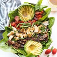 Paleo Honey Mustard Chicken, Bacon & Avocado Salad