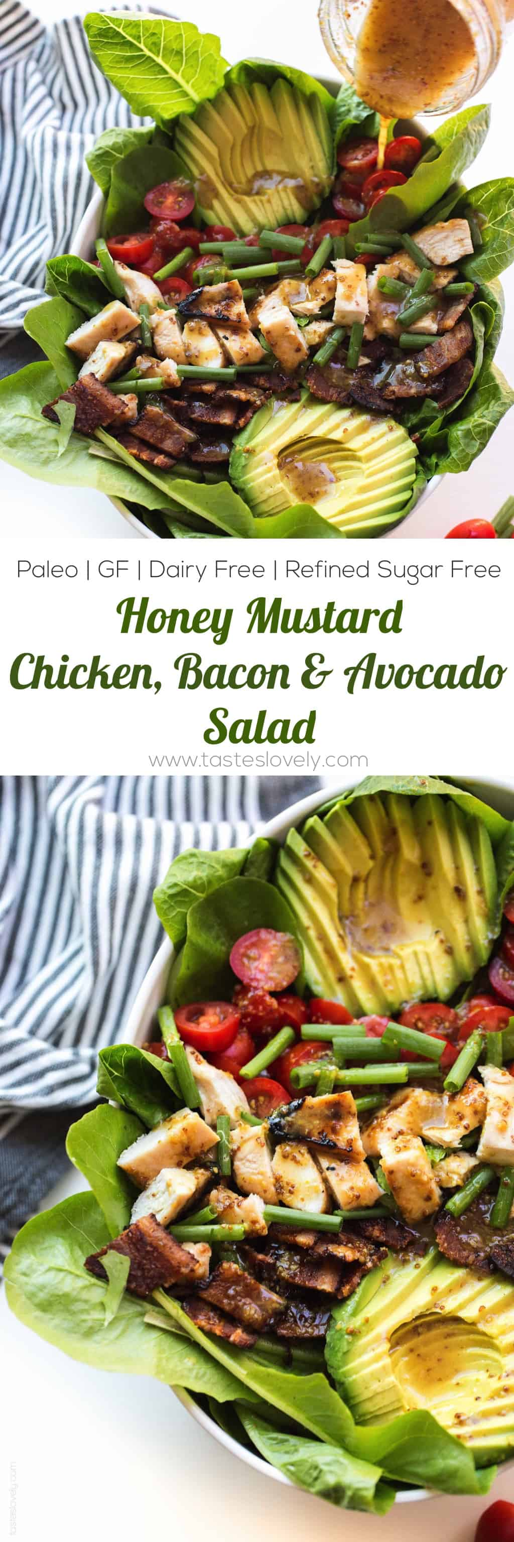 Paleo Honey Mustard Chicken, Bacon & Avocado Salad with tomatoes. A delicious and healthy summer dinner recipe that is paleo, gluten free, dairy free, refined sugar free.