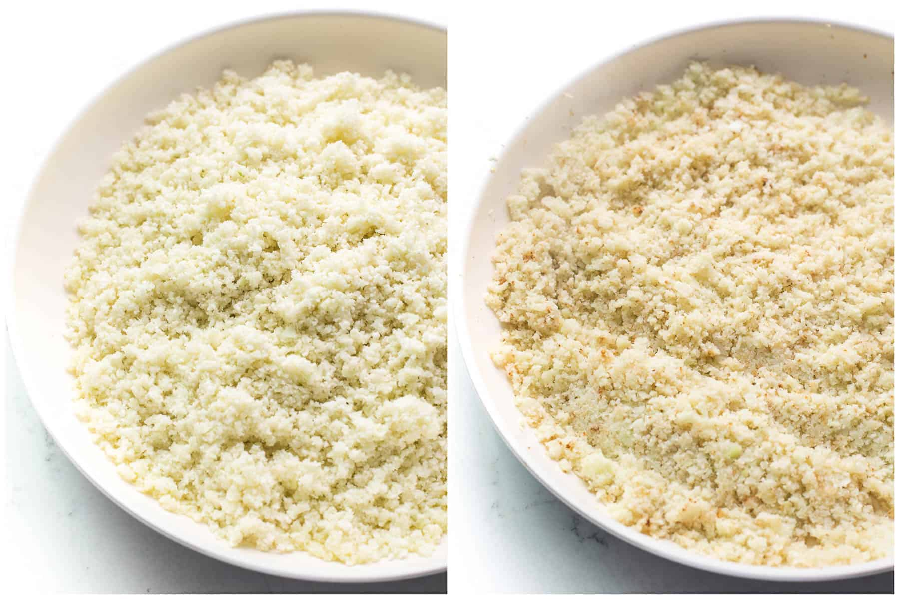 cooking cauliflower rice in a white pan