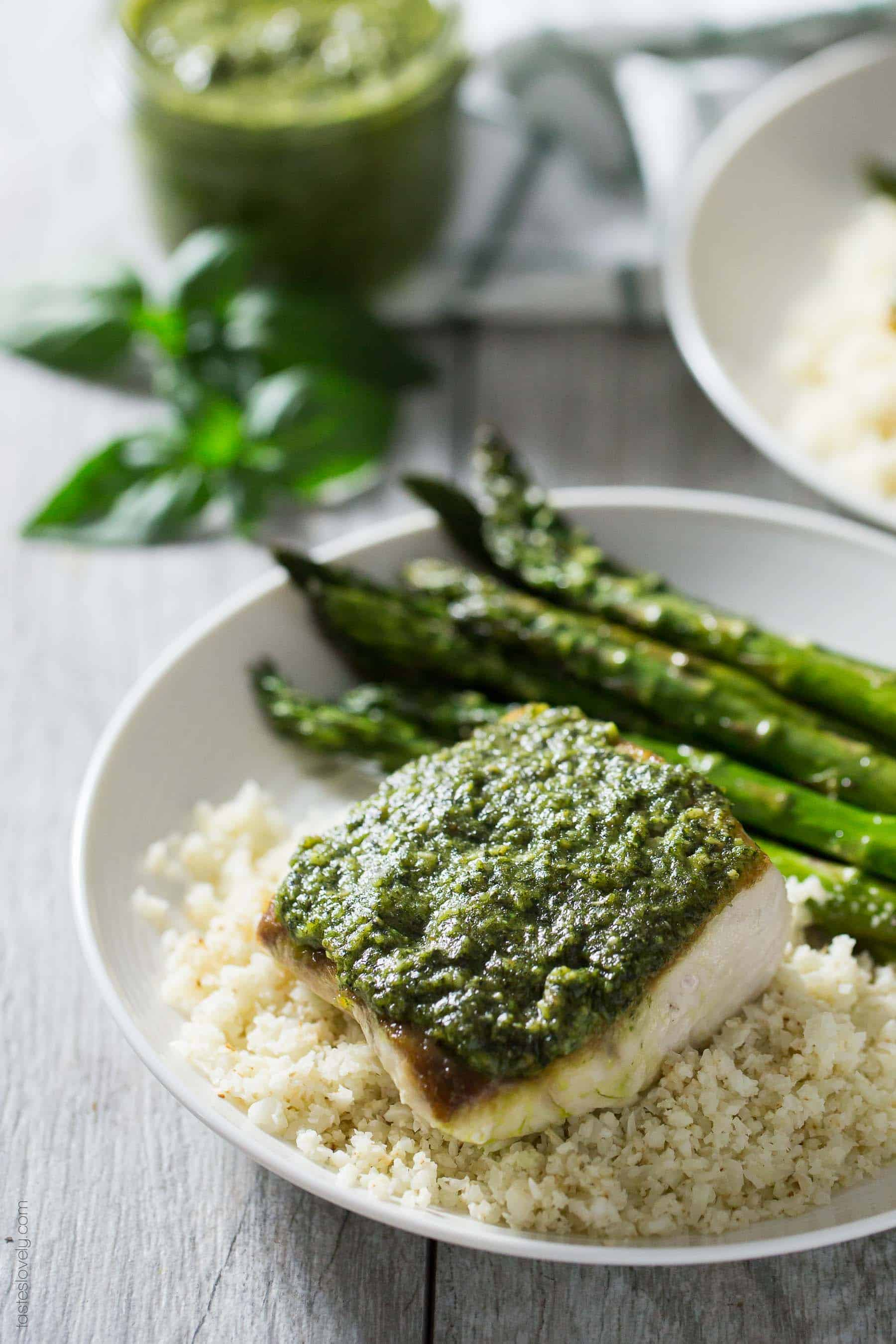 Pesto Mahi Mahi - a simple and fresh fish dinner recipe that is paleo, gluten free, Whole30 and dairy free!