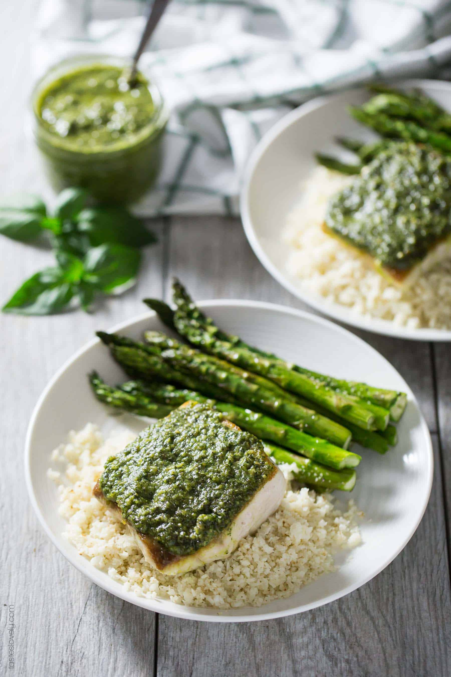 Pesto Mahi Mahi - a simple and fresh fish dinner recipe that is paleo, gluten free, Whole30 and dairy free!