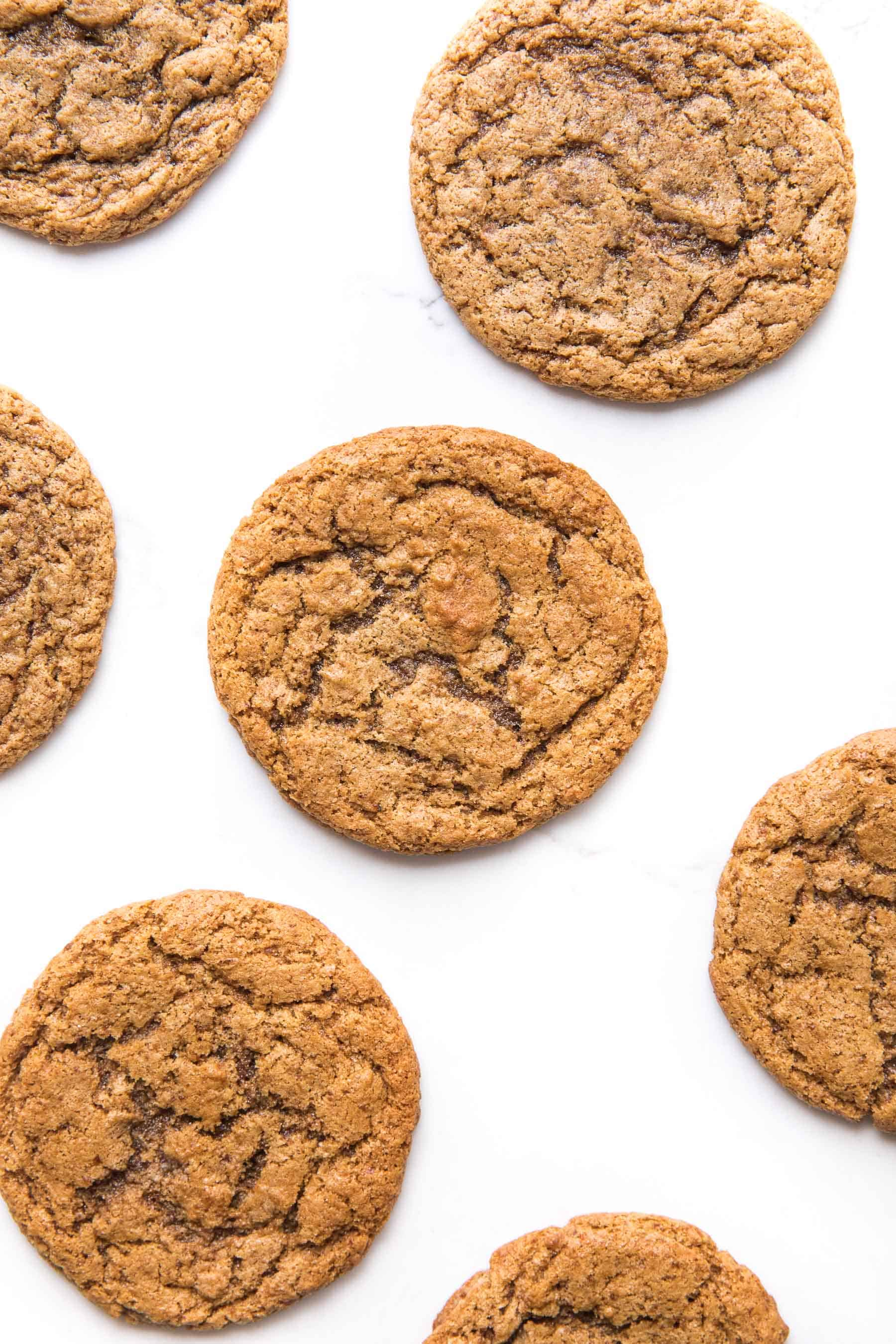 almond butter cookies on a white background
