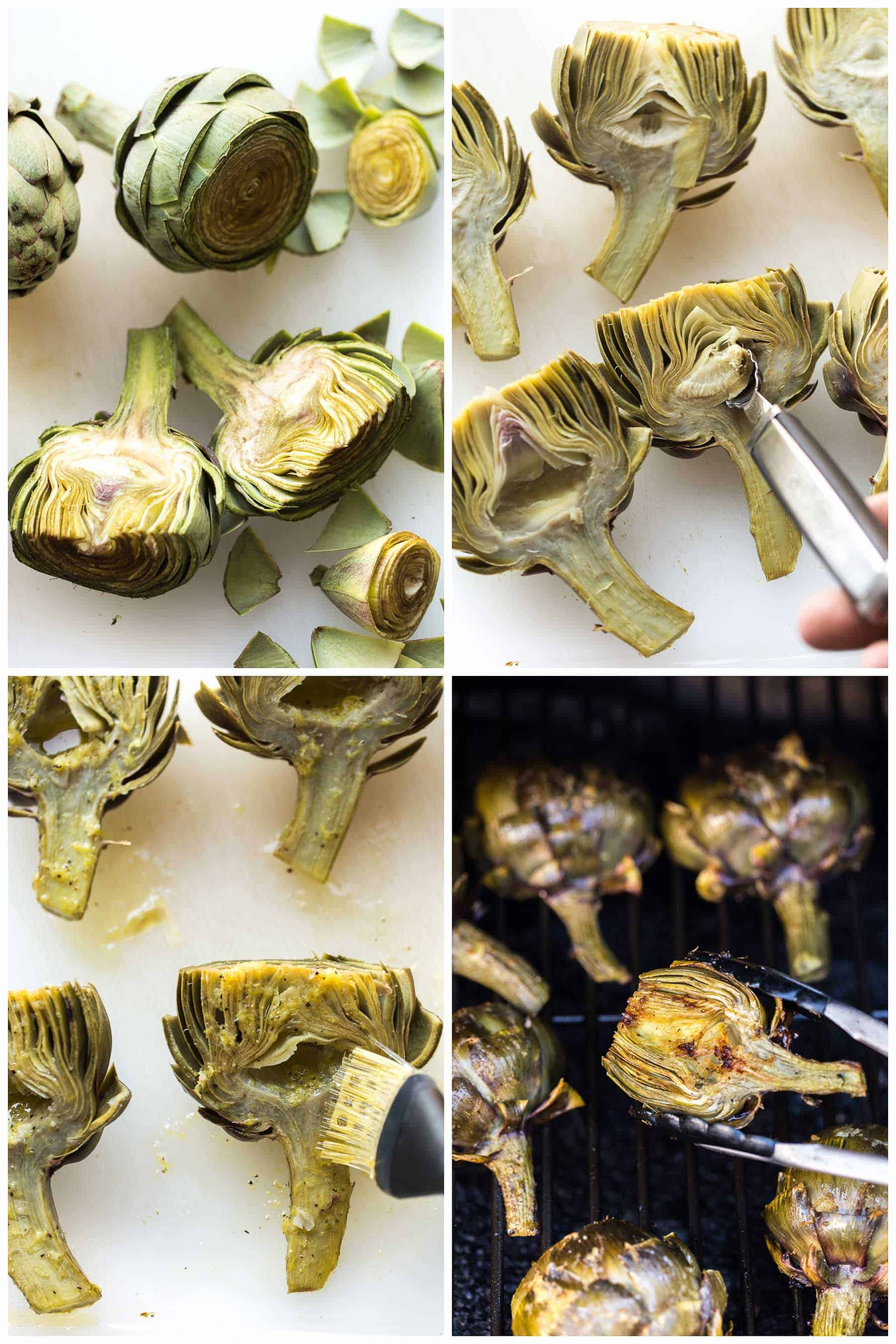 Paleo & Whole30 Grilled Artichokes with a lemon garlic basting oil and a lemon garlic aioli dipping sauce. A delicious appetizer or side dish recipe! Paleo, Whole30, gluten free, grain free, dairy free, sugar free, vegetarian, clean eating.